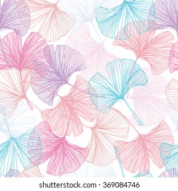 Gingko biloba seamless vector background pattern. Purple, pink, blue. Rose quartz and serenity background on white