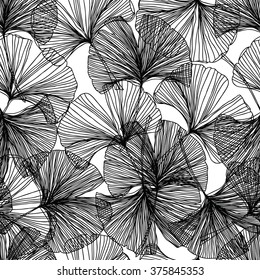 Gingko biloba seamless vector background pattern. Black and white colors. Hand drawn background on white