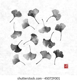 Gingko leaves on on rice paper background. Traditional Japanese ink painting sumi-e. Contains hieroglyph - well-being