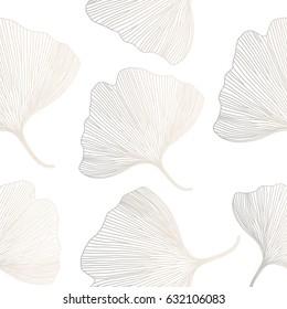 Ginkgo biloba background, seamless pattern. Vector illustration