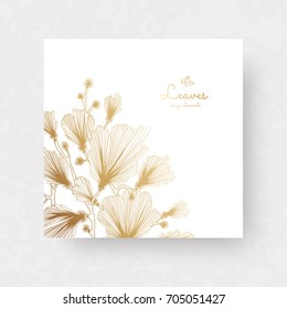 Ginkgo biloba branches with leaves. Medical, isolated botanical plant. Golden ginkgo branches for invitations, wedding greeting cards, labels.