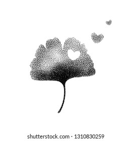Ginkgo biloba leaf black on white Valentines background with heart, trend dotty design contemporary pointillism tattoo halftone style. Vector concept contemporary design.