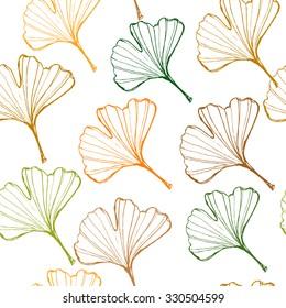 Ginkgo biloba leaf hand drawn seamless pattern