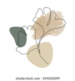 Ginkgo Biloba Leaf line arts frame cover collection. Minimalistic modern line art  Flower with abstract shape background for print, beauty and fashion. vector illustration.