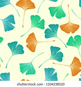 Ginkgo biloba leaf seamless pattern. Botanical vector hand drawn texture.