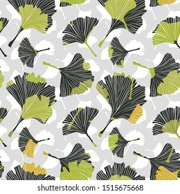 Ginkgo biloba leaf tablecloth seamless pattern. Silhouette of ginkgo leaves with white veinlets. Isolated vector illustration. Nature design.