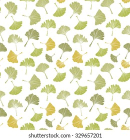 Ginkgo biloba leaf tablecloth seamless pattern.Health plant pattern. Silhouette of ginkgo leaves with white veinlets. Isolated vector illustration. Nature design.