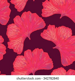 Ginkgo biloba leaf tablecloth seamless pattern. Silhouette of ginkgo leaves or red petals with dark red veins. Isolated vector illustration. Nature design