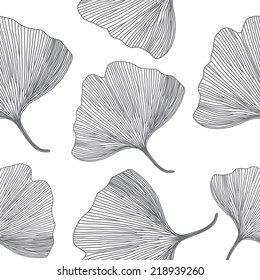 Ginkgo biloba leaves, line design, seamless pattern