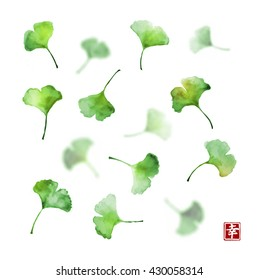 Ginkgo biloba leaves on white background. Traditional Japanese ink painting sumi-e.Contains hieroglyph - happiness.