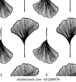 Ginkgo biloba pattern black and white