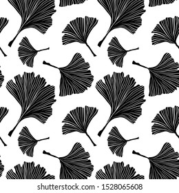 Ginkgo Biloba Plant Seamless Pattern, Large Black Leaves Silhouettes on White. Vector Monochrome Illustration. Ayurvedic Medicine Theme. Japanese Tree.