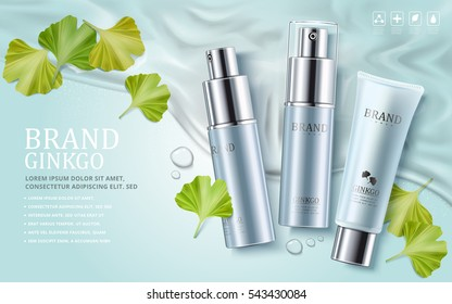 Ginkgo cosmetic ads, plastic tube and spray bottles with ginkgo biloba leaves on water background, 3d illustration