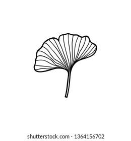 ginkgo leaf doodle icon