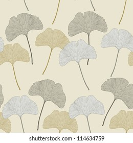 Ginkgo leaf floral ornament. Seamless interior wallpaper (Ginkgo Biloba leaves,  gingko leaf, ginkgo biloba, ginkgo leaf, leaves of ginkgo tree)
