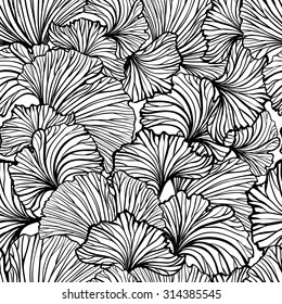 Ginkgo leaves black and white vector seamless pattern