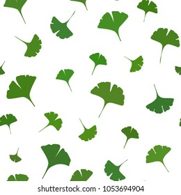 Ginkgo leaves Seamless Pattern on white background. Vector illustration