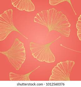 Ginkgo leaves seamless pattern Vector botanical illustration Floral background Luxury elegant pattern