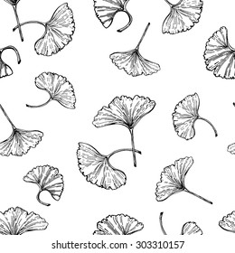 Ginkgo leaves seamless vector pattern. Ginkgo biloba leaves outlines on white background