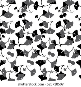Ginkgo leaves vector. Can be used for wallpaper, pattern fills, textile, web page background, surface textures. Vector illustration.