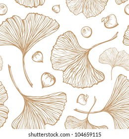 Ginkgo leaves vector seamless pattern