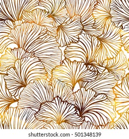 Ginkgo leaves vector seamless pattern. Yellow and brown graphic background.