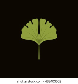 ginko leaf icon in flat style