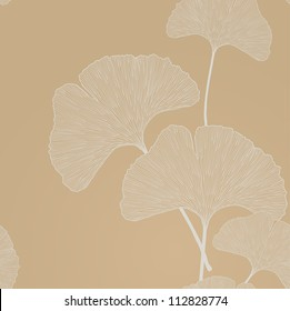 Ginko leaves floral ornament. Seamless interior wallpaper (Ginkgo Biloba leaves,  gingko leaf, ginkgo biloba, ginkgo leaf, leaves of ginkgo tree)