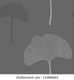 Ginko leaves floral ornament. Seamless interior wallpaper (Ginkgo Biloba leaves,  gingko leaf, ginkgo biloba, ginkgo leaf, leaves of ginkgo tree)
