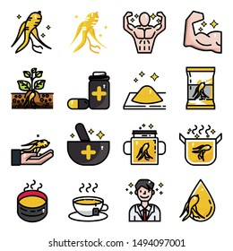 Ginseng icons set,Plants herb vector and illustration
