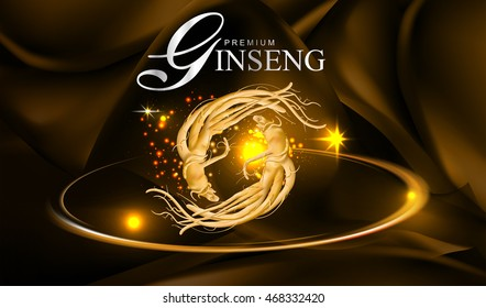 Ginseng Premium on Red Background Vector.