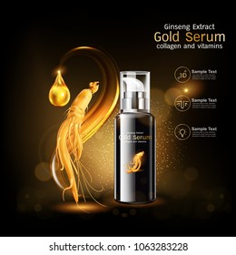 Ginseng Premium Serum Collagen and Vitamin Vector for Skin Care Cosmetic Products.
