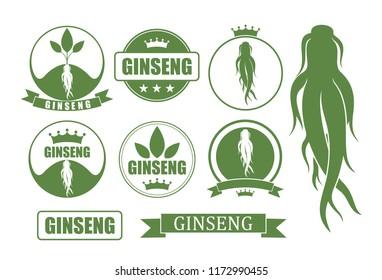 Ginseng set. Isolated ginseng on white background