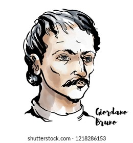 Giordano Bruno watercolor vector portrait with ink contours. Italian Dominican friar, philosopher, mathematician, poet, and cosmological theorist.