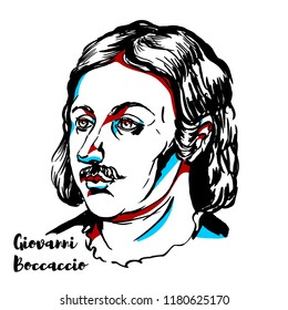 Giovanni Boccaccio engraved vector portrait with ink contours. Italian writer, poet, correspondent of Petrarch, and an important Renaissance humanist.