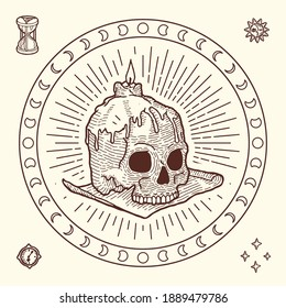 Gipsy style Magic Symbol of Human Skull with Wax Candle. Engraving style, Hippie and Vintage. Astrological Mystery Set with Dial, Hourglass, Stars, Sun and Moon. Print for T-shirts, Poster, Tarot card
