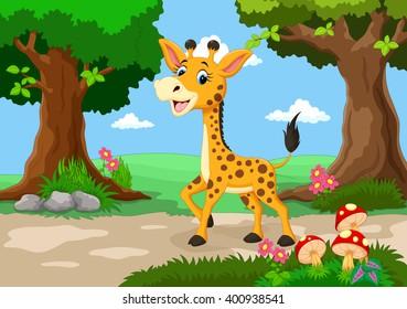Giraffe against a background of a beautiful garden