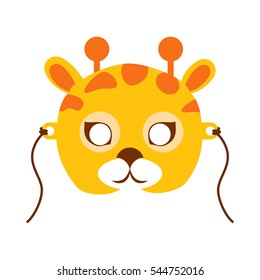 Giraffe animal carnival mask vector in flat style. Tallest ruminant in orange and brown colors. Funny childish masquerade mask isolated. New Year masque for festivals, holiday dress code for kids
