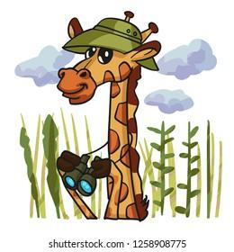 Giraffe bird watcher cartoon