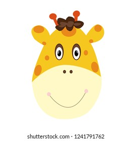 Giraffe in cartoon image on a white background. Easy to use.