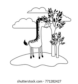 giraffe cartoon in outdoor scene with trees and clouds in black dotted silhouette