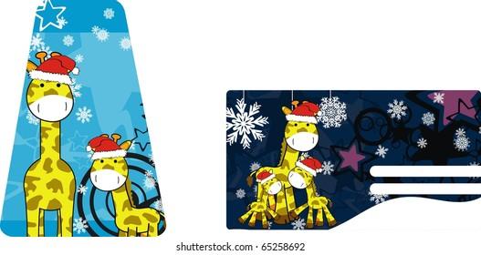 giraffe cartoon xmas sticker in vector format very easy to edit