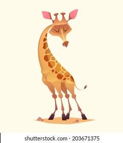 Giraffe character. Cartoon vector illustration.