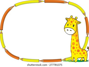 giraffe with color pencil border