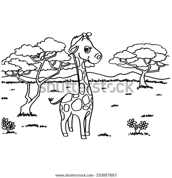 Giraffe Coloring Pages Vector Stock Vector (Royalty Free ...