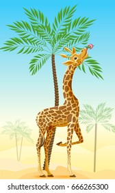 Giraffe eating the leaves of trees in the Savannah. Cartoon, vector