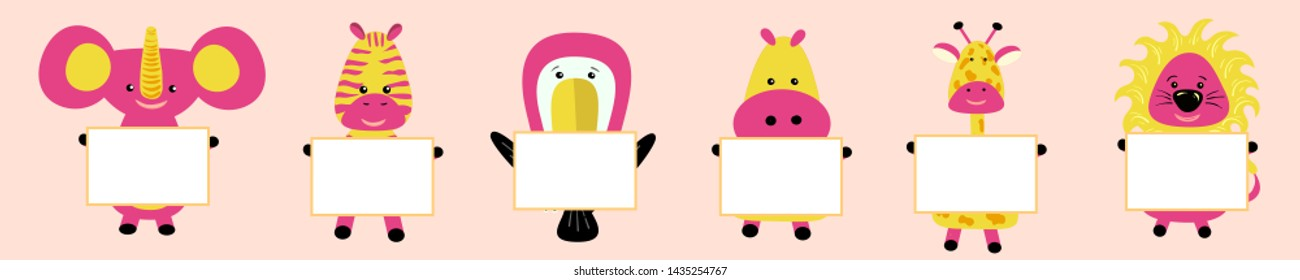giraffe, elephant, toucan, hippopotamus, hippo, lion, zebra with the image of the head. Pink cheeks. Cute cartoon character. T-shirt design. Baby pets collection background. Flat design vector