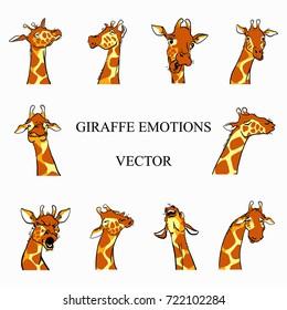 Giraffe emotions color vector set in cartoon style. Ten giraffes heads with necks on white background. Giraffes faces sketch. Yellow, orange, white.