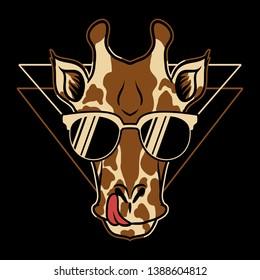 giraffe eyeglasses cartoon vector illustration