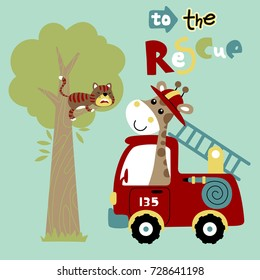 giraffe the firefighter in rescue mission to save the cat on tree, vector cartoon illustration